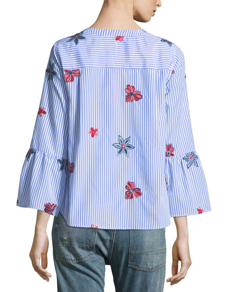 Floral-Embroidered Striped Blouse