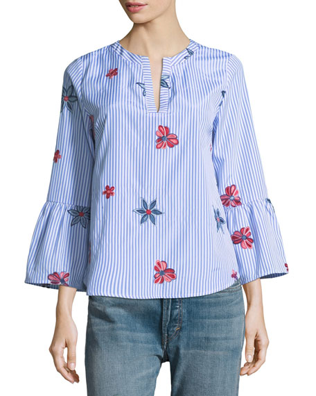 Collective Concepts Floral-Embroidered Striped Blouse