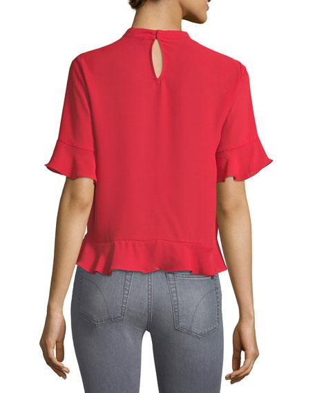 Choker-Collar Short-Sleeve Blouse