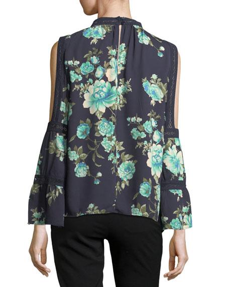 High-Neck Floral-Print Blouse
