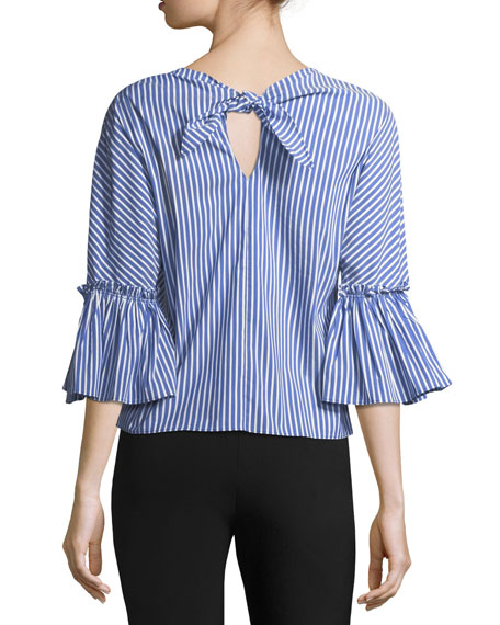Bell-Sleeve Striped Blouse