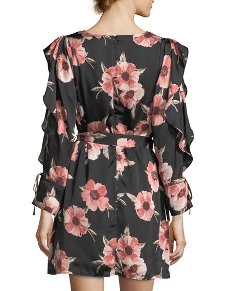 Long-Sleeve Floral-Print Satin Dress