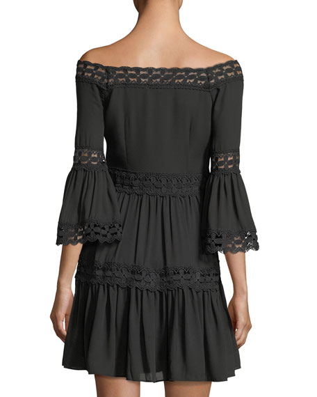 Bell-Sleeve Lace-Inset Dress