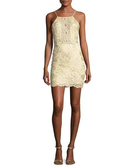 Myra Floral-Embellished Dress, Gold