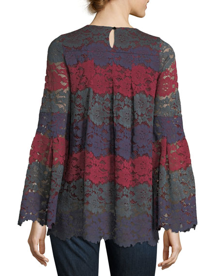 Bell-Sleeve Striped Lace Tunic