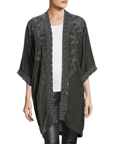 Parina Velvet Embroidered Kimono, Plus Size