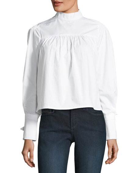 Jodi High-Neck Poplin Blouse