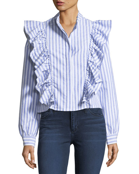 Kate Ruffled Striped Crepe Blouse