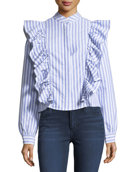 Haute Rogue Kate Ruffled Striped Crepe Blouse