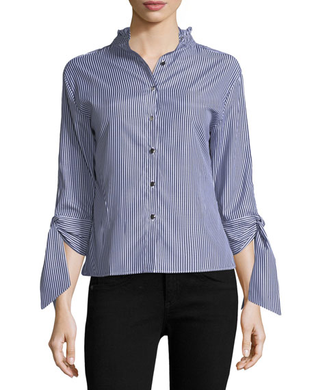 Haute Rogue Lisa Striped Blouse with Tie Sleeves,