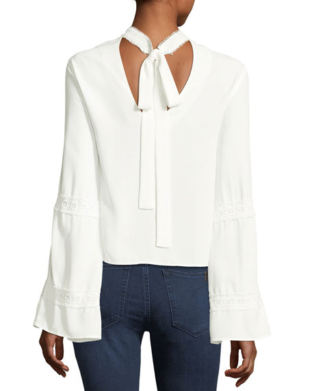 La Vie Crochet Long-Sleeve Blouse