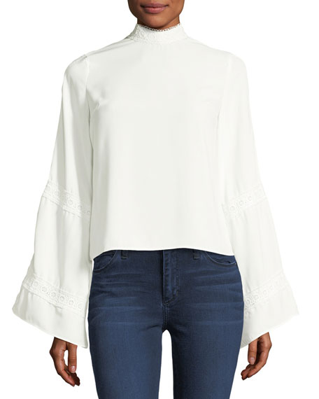 Haute Rogue La Vie Crochet Long-Sleeve Blouse