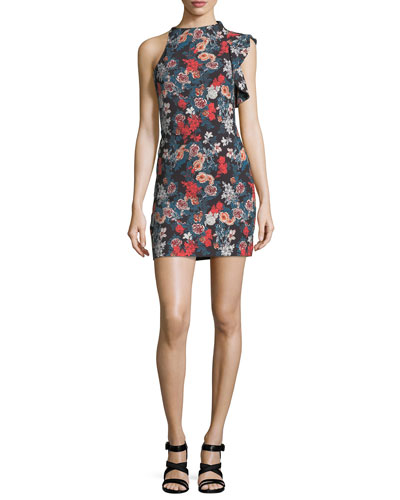Pabla High-Neck Floral-Print Mini Dress