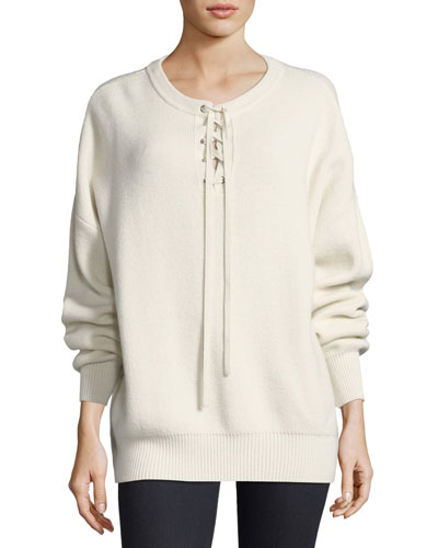 Lace-Up Ribbed Pullover Sweater