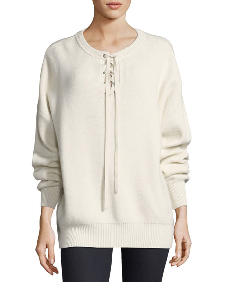 Robert Rodriguez Lace-Up Ribbed Pullover Sweater