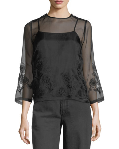 Embroidered Organza High-Neck Top