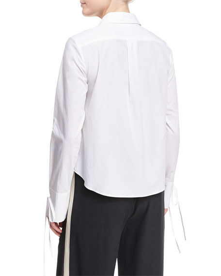 Button-Front Poplin Shirt w/ Cuff Detail