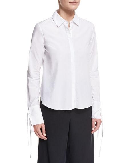 Button-Front Poplin Shirt w/ Cuff Detail