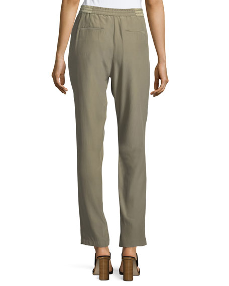 Pintuck Silk Easy Pull-On Pants