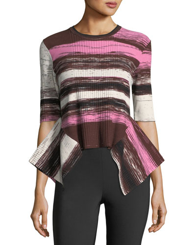 Delta Deconstructed Striped Rib-Knit Sweater