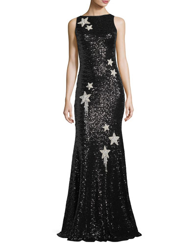 Sleeveless Star-Embellished Sequin Evening Gown