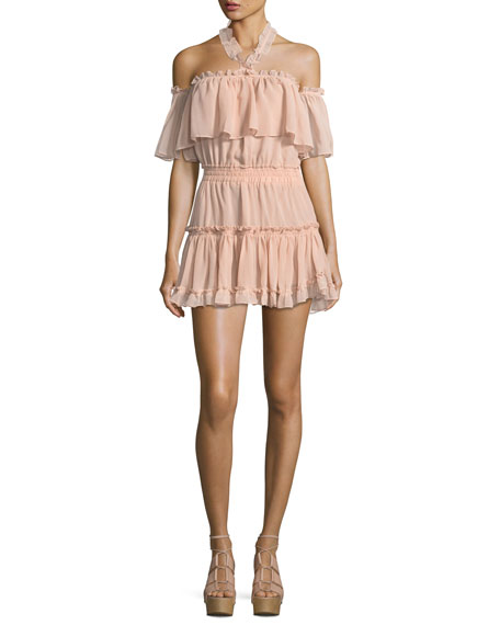MISA Los Angeles Melis Off-the-Shoulder Halter Ruffled Chiffon