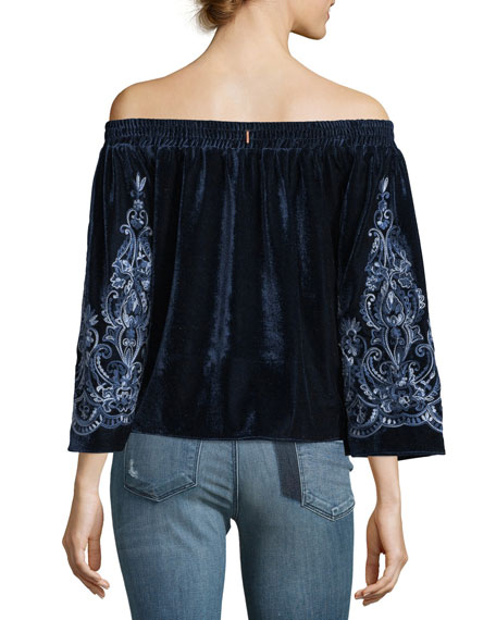 Linez Off-the-Shoulder Velvet Top w/ Embroidery