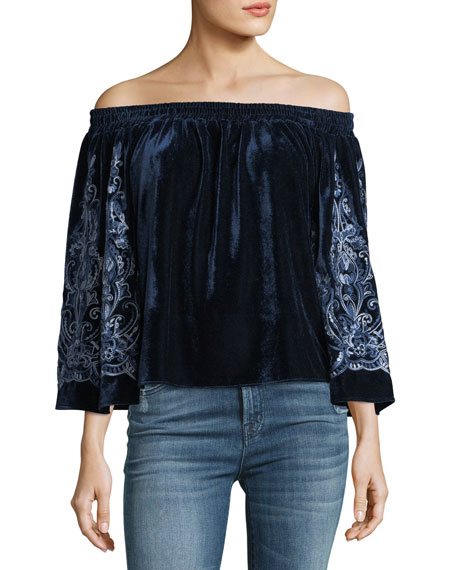 MISA Los Angeles Linez Off-the-Shoulder Velvet Top w/