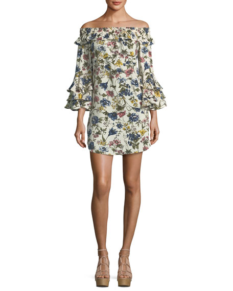 MISA Los Angeles Amal Floral-Print Off-the-Shoulder A-Line Dress