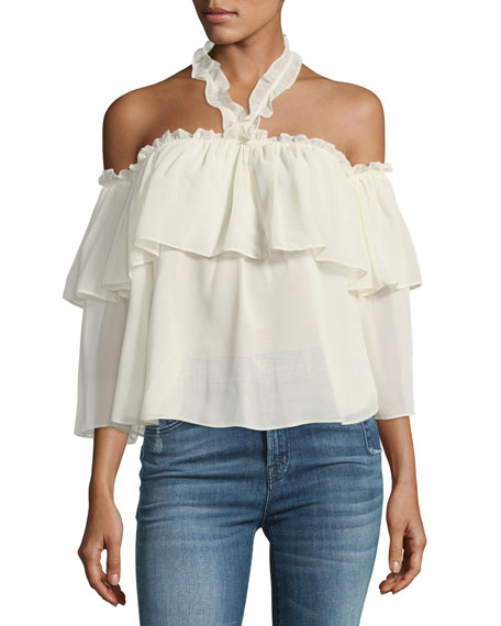 MISA Los Angeles Galle Off-the-Shoulder Ruffled Chiffon Top