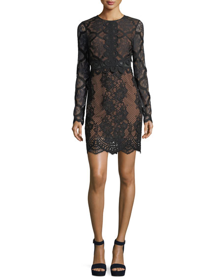Kendall + Kylie Jewel-Neck Long-Sleeve Lace Cocktail Dress