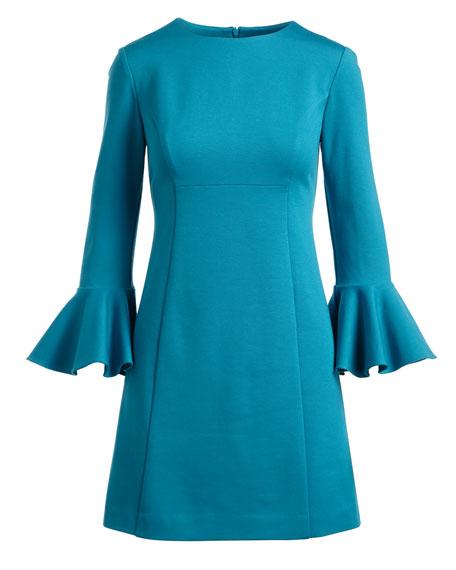 Panache Trumpet-Sleeve Ponte Day Dress