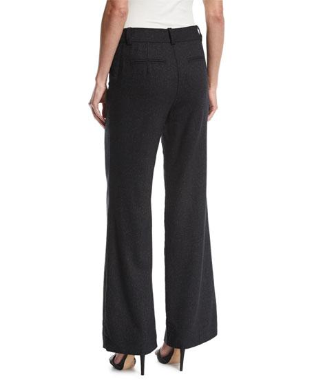 Wide-Leg Speckled Wool-Silk Trousers