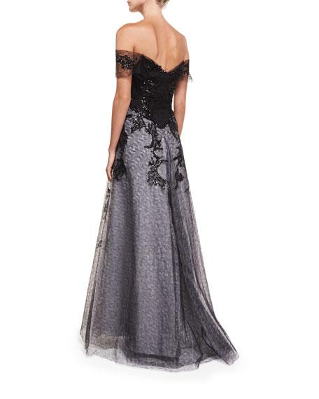 Off-the-Shoulder Organza Embellished Gown