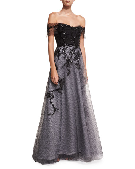 Rene Ruiz Off-the-Shoulder Organza Embellished Gown