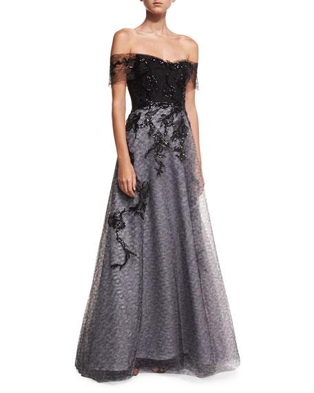 Rene Ruiz Off-the-Shoulder Organza Embellished Gown