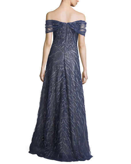 Off-the-Shoulder Beaded Lace Evening Gown