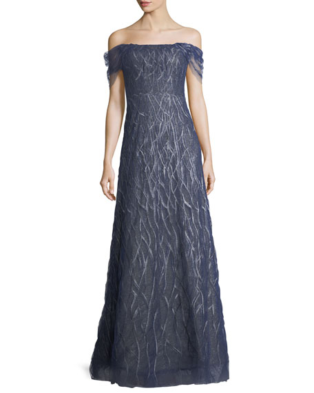 Rene Ruiz Off-the-Shoulder Beaded Lace Evening Gown