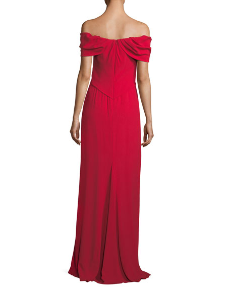 Off-the-Shoulder Draped Evening Gown