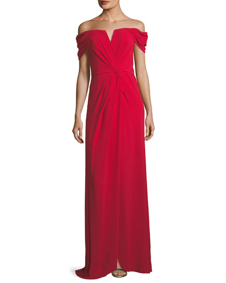 Rene Ruiz Off-the-Shoulder Draped Evening Gown