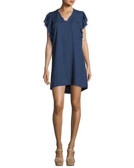 Crosshatch Ruffle Flutter-Sleeve Chambray Dress