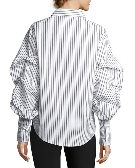 Puff-Sleeve Striped Cotton Blouse