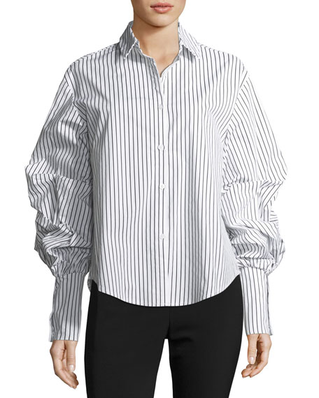 FEW MODA Puff-Sleeve Striped Cotton Blouse