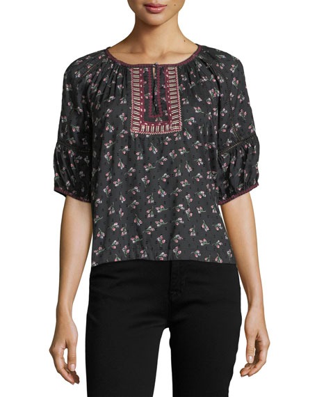 Florica Split-Neck Floral-Embroidered Top
