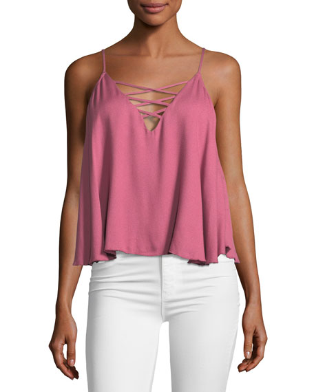 Ella Moss Lace-Up Sleeveless Swing Cami Top