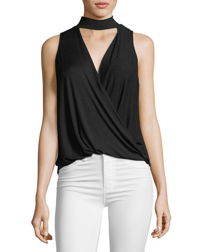 Collared Surplice Sleeveless Jersey Top