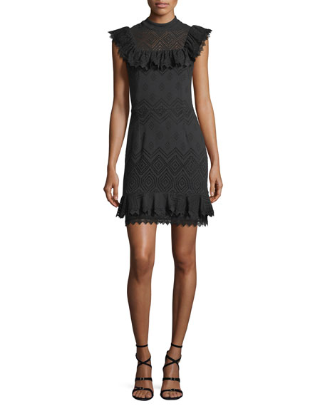 Ella Moss Justina Sleeveless Perforated Ruffled Dress