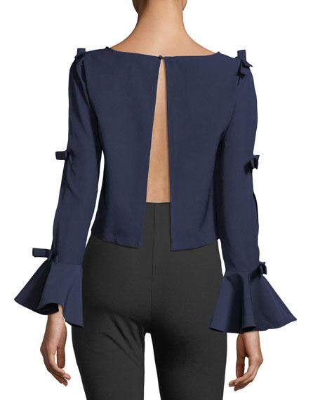 Open-Back Bow-Embellished Blouse