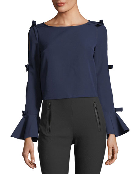 FEW MODA Open-Back Bow-Embellished Blouse