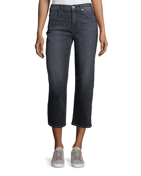 Kiki Wide-Leg Ankle Jeans w/ Shadow Side Seam